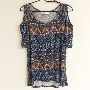 French Laundry Cold Shoulder Victorian Print Top